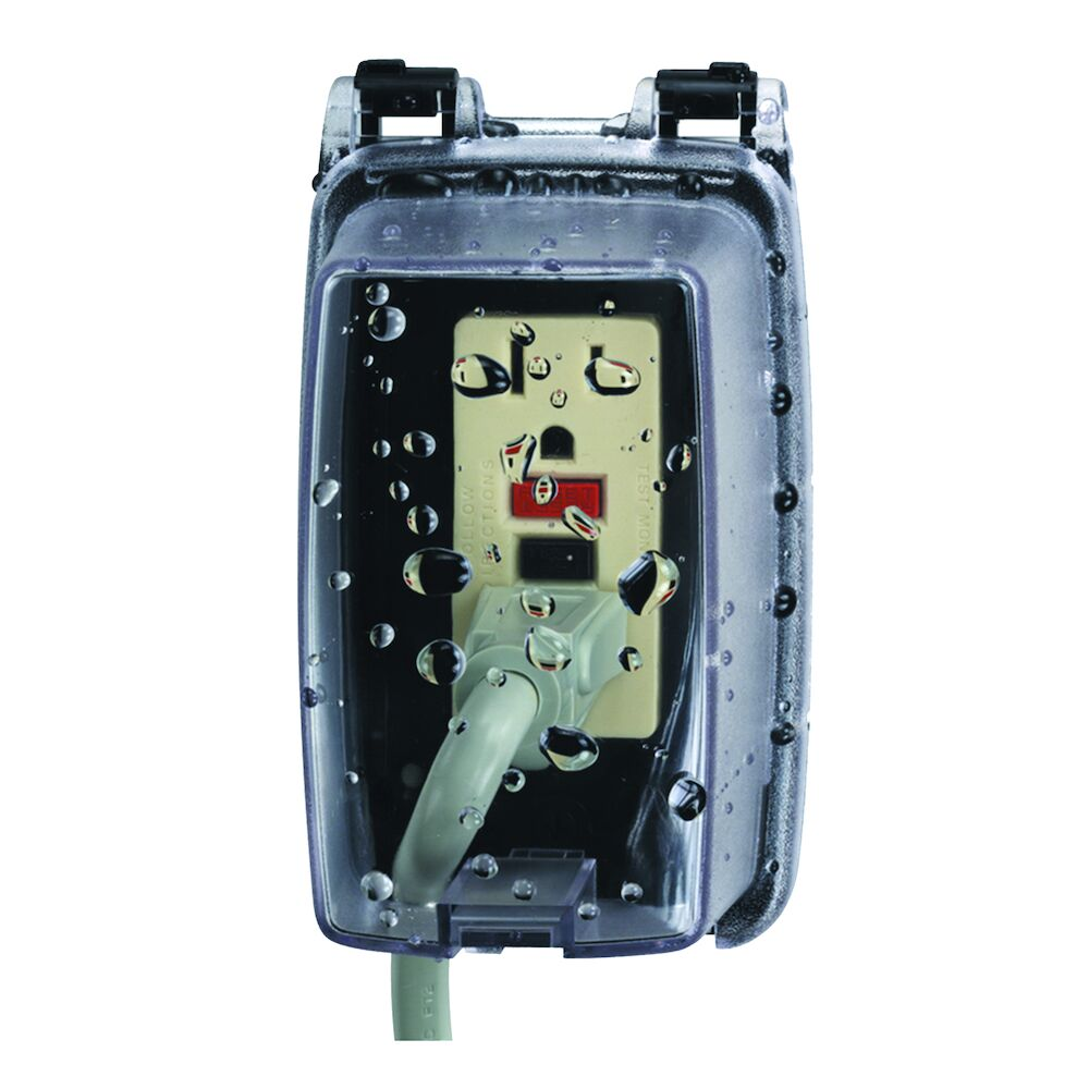 """Plastic In-Use Weatherproof Cover, Single-Gang, Vrt, 2.25"""" Clear redirect to product page"""