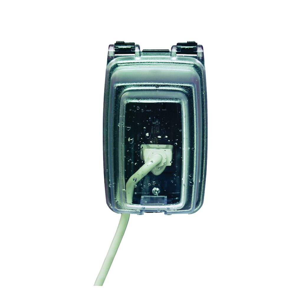 """Plastic In-Use Weatherproof Cover, Single-Gang, Vrt, 3.125"""" Clear redirect to product page"""