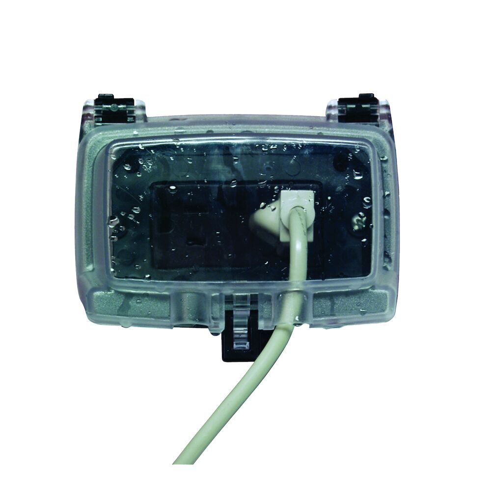 """Plastic In-Use Weatherproof Cover, Single-Gang, Hrz, 3.125"""" Clear redirect to product page"""