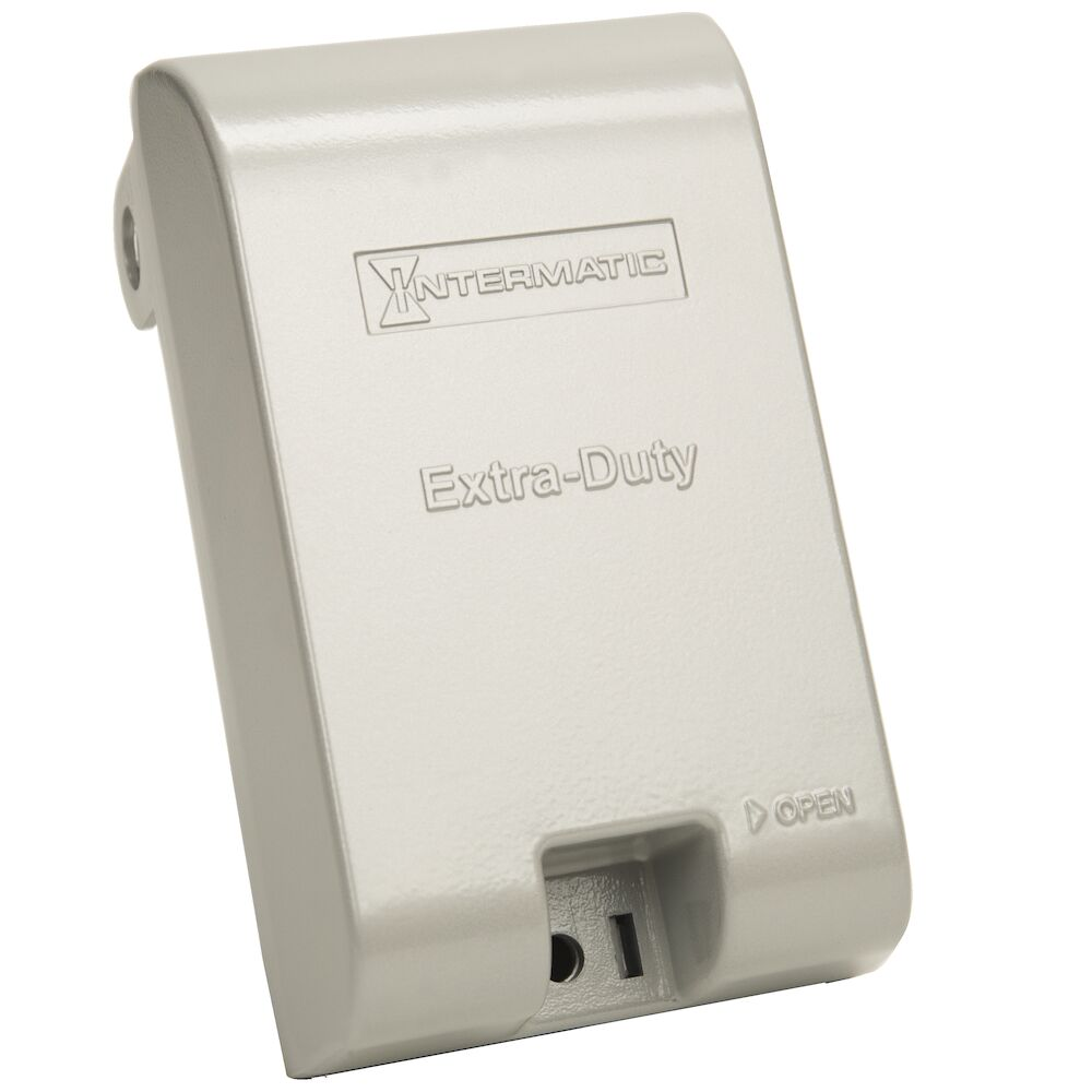"""Extra-Duty Die-Cast In-Use Weatherproof Cover, Single-Gang, Vrt, 3.125"""" Gray redirect to product page"""