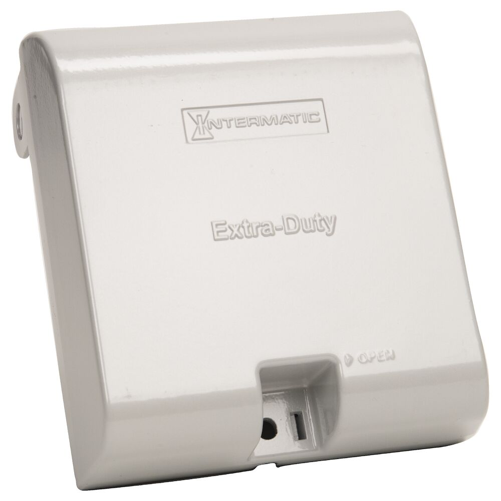 """Extra-Duty Die-Cast In-Use Weatherproof Cover, Double-Gang, Vrt, 3.125"""" Gray redirect to product page"""