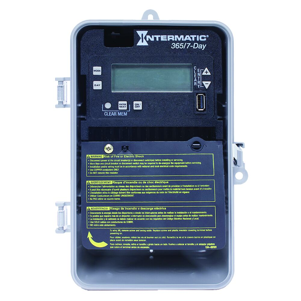 7-Day/365 Day 1-Circuit Electronic Control, 120-277 VAC, 60 Hz, SPST, Indoor/Outdoor Plastic Enclosure redirect to product page