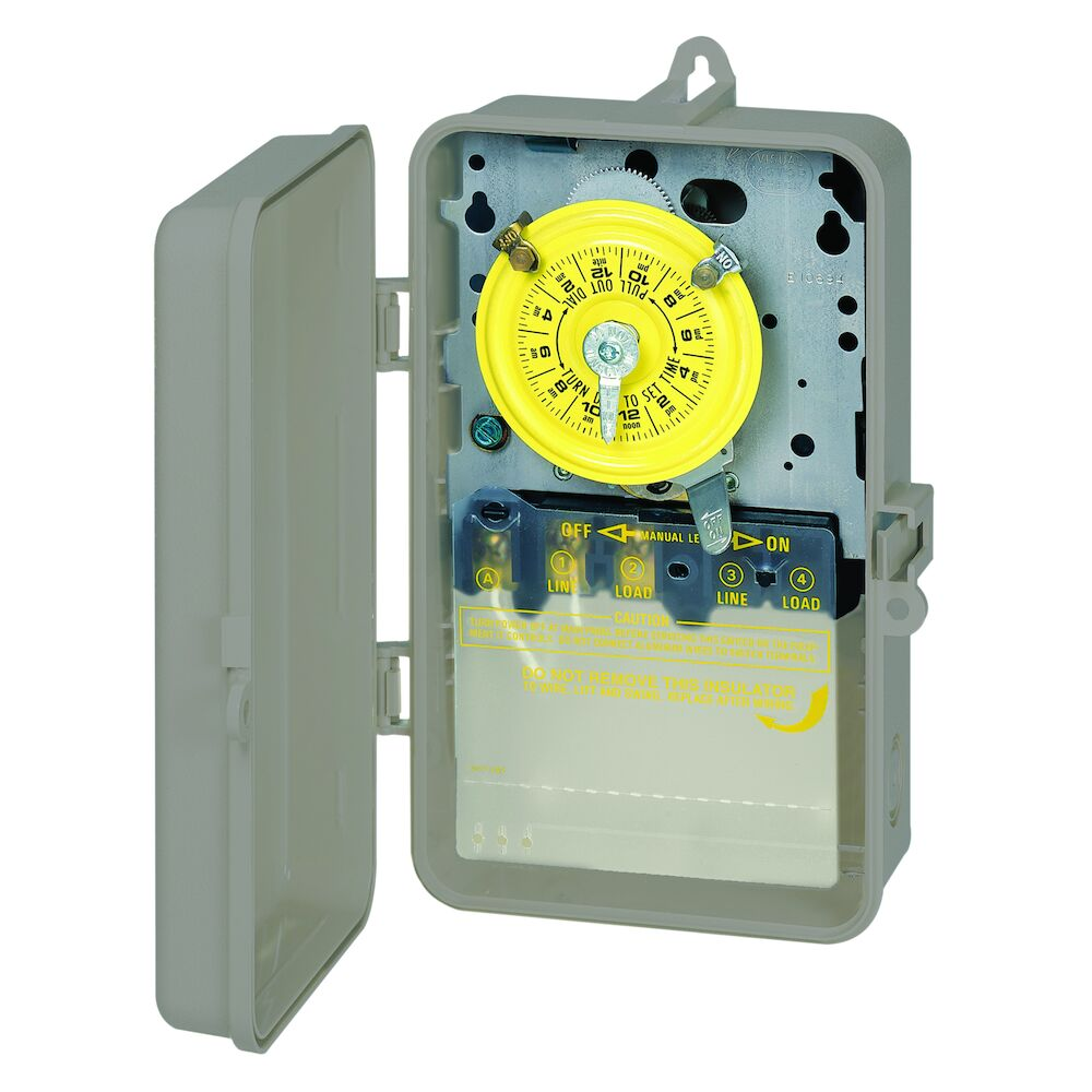 24-Hour Mechanical Time Switch, 120 VAC, 60Hz, SPST, Indoor/Outdoor Plastic Enclosure, 1 Hour Interval redirect to product page