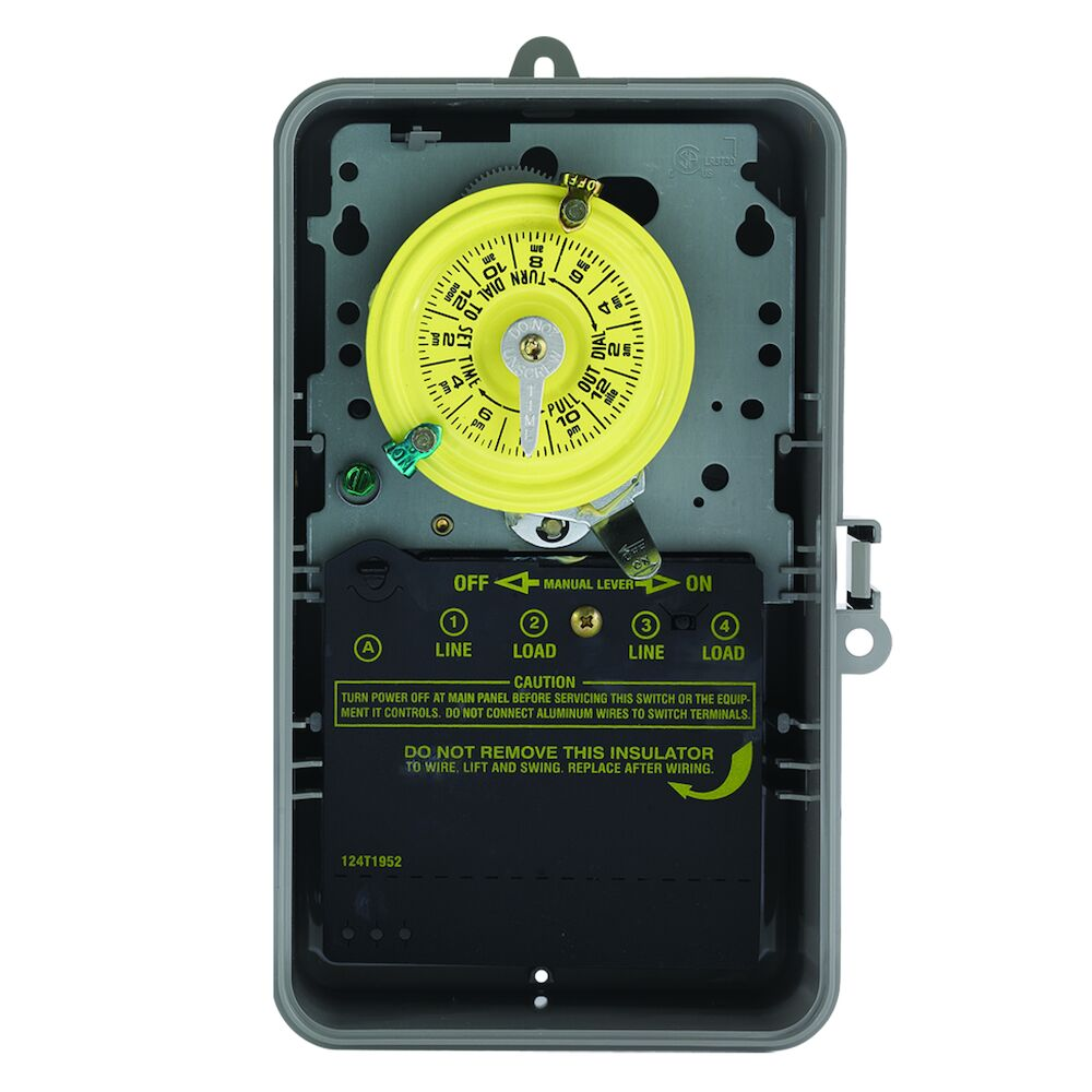 24-Hour Mechanical Time Switch, 120 VAC, 60Hz, SPST, Indoor/Outdoor Plastic with See-Through Door Enclosure, 1 Hour Interval redirect to product page