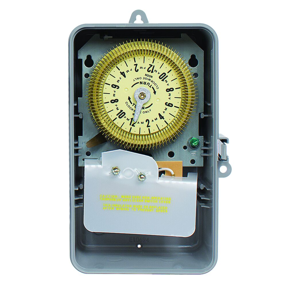24-Hour Mechanical Time Switch, 125 VAC, 60Hz, SPDT, Indoor/Outdoor Plastic Enclosure, 15 Minute Interval redirect to product page