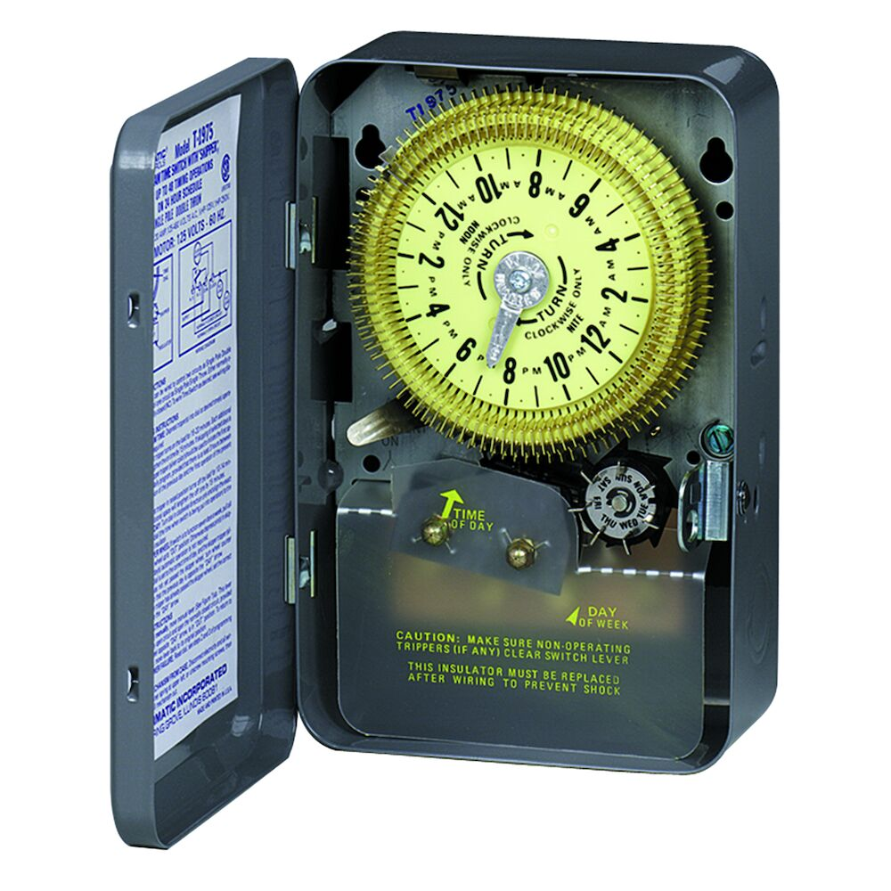 24-Hour Mechanical Time Switch with Skip-a-Day, 125 VAC, 60Hz, SPDT, Indoor Metal Enclosure, 15 Minute Interval redirect to product page