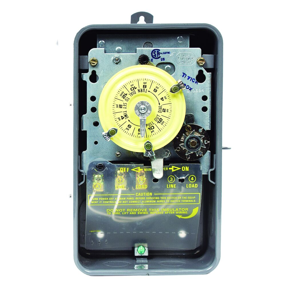 24-Hour Mechanical Time Switch with Skip-a-Day, 120 VAC, 60Hz, SPST, Outdoor Metal Enclosure, 1 Hour Interval redirect to product page
