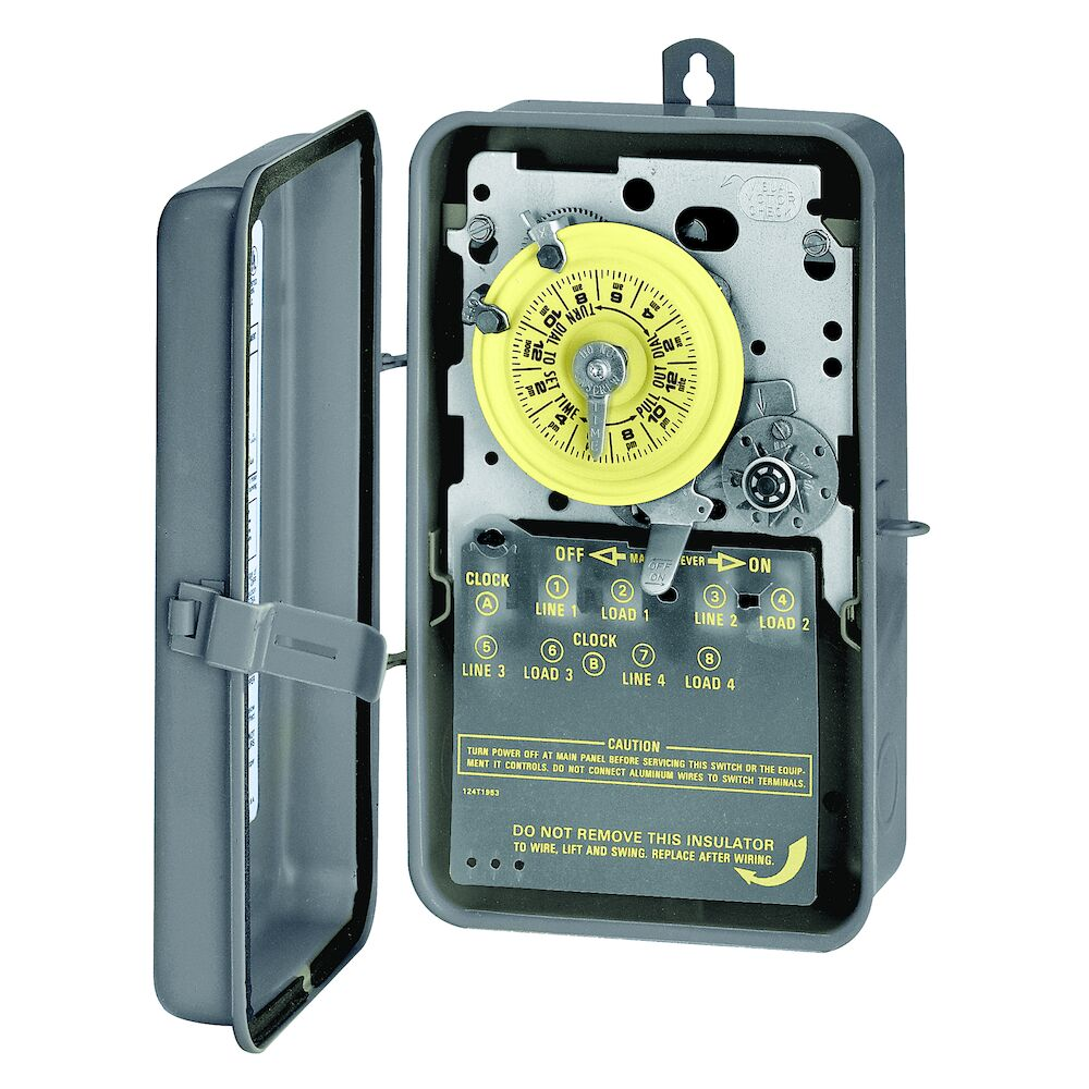 24-Hour Mechanical Time Switch with Skip-a-Day, 120 VAC, 60Hz, 4-SPST, Outdoor Metal Enclosure, 1 Hour Interval redirect to product page