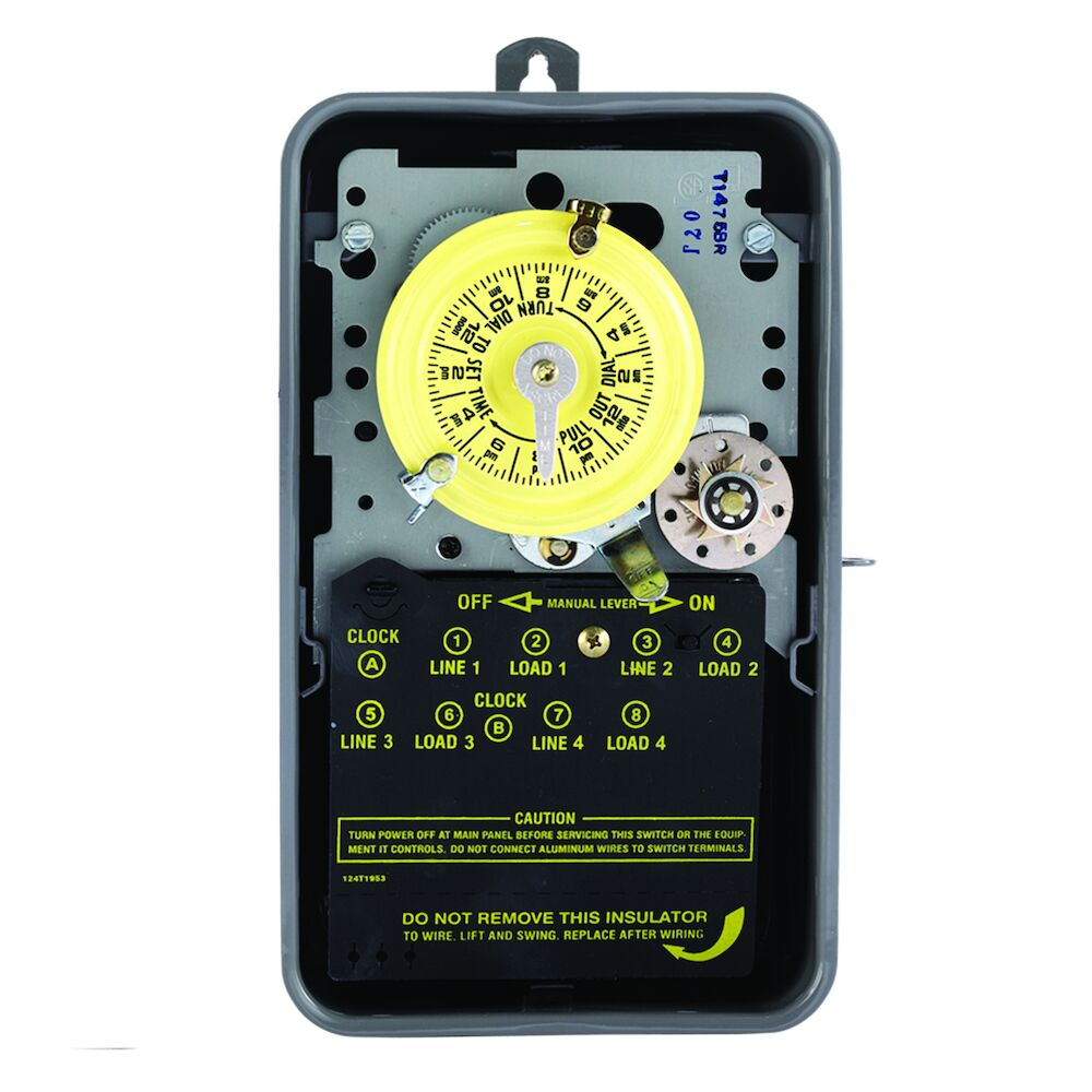 24-Hour Mechanical Time Switch with Skip-a-Day, 480 VAC, 60Hz, 4-SPST, Outdoor Metal Enclosure, 1 Hour Interval redirect to product page