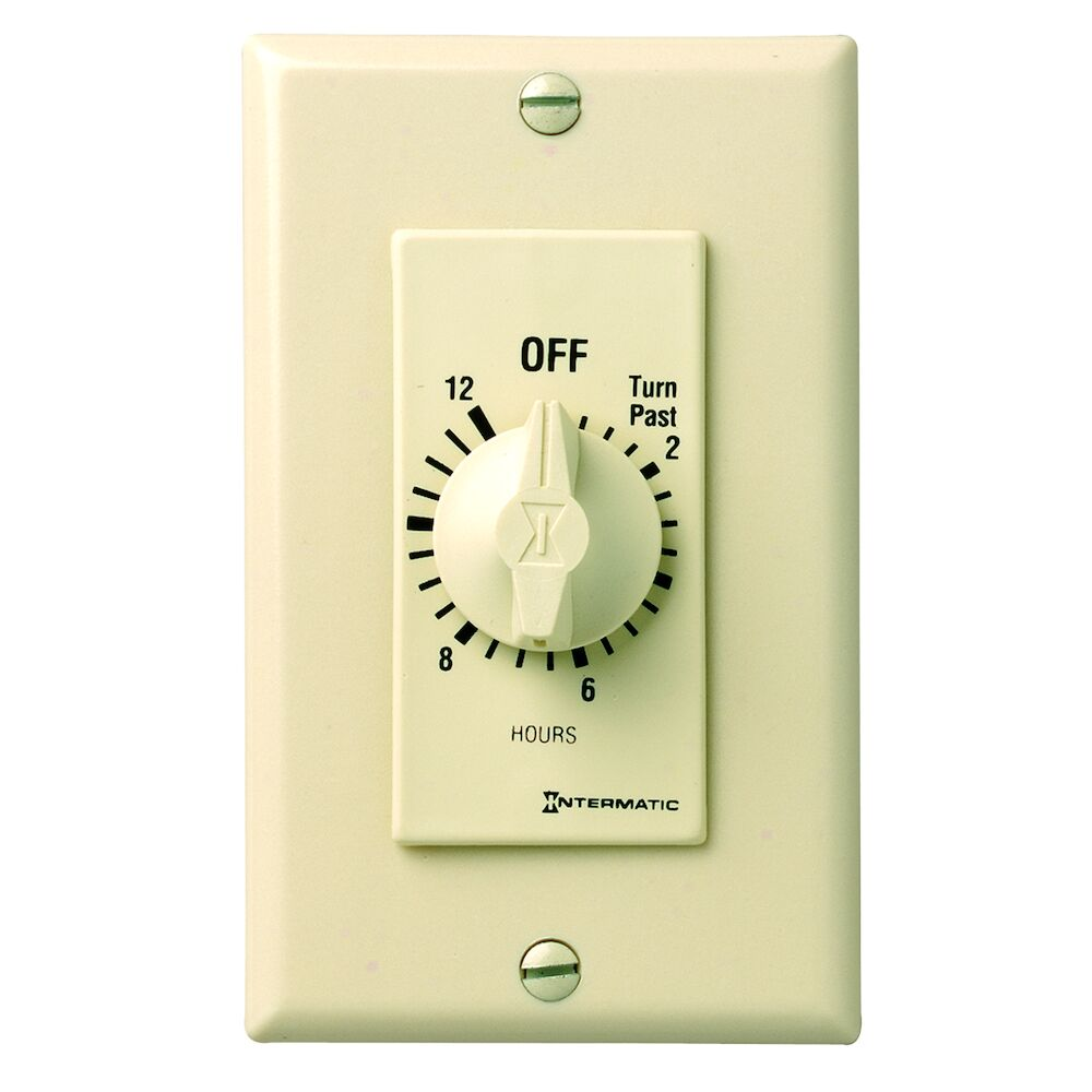 Spring Wound Countdown Timer, Decorator Style, 125-277 VAC, 50/60 Hz, SPST, 12 Hour Max, Without Hold, Ivory redirect to product page