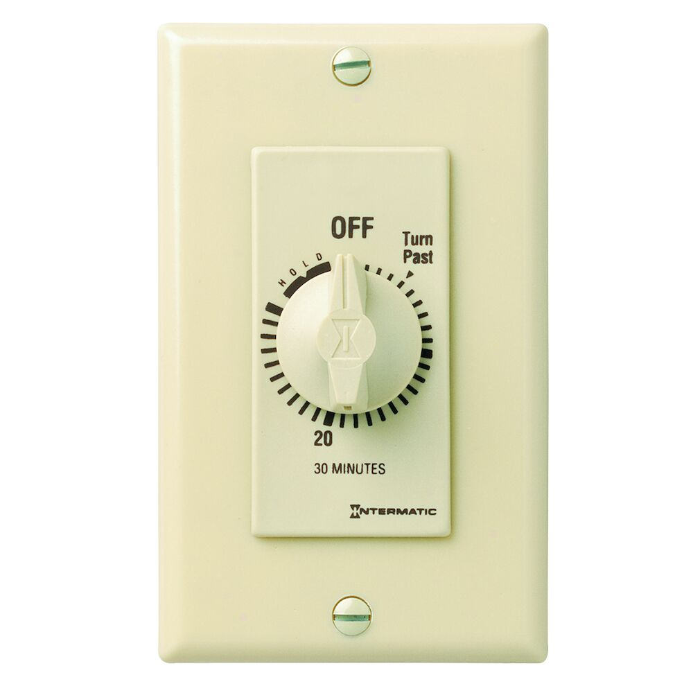 Spring Wound Countdown Timer, Decorator Style, 125-277 VAC, 50/60 Hz, SPST, 30 Minute Max, With Hold, Ivory redirect to product page
