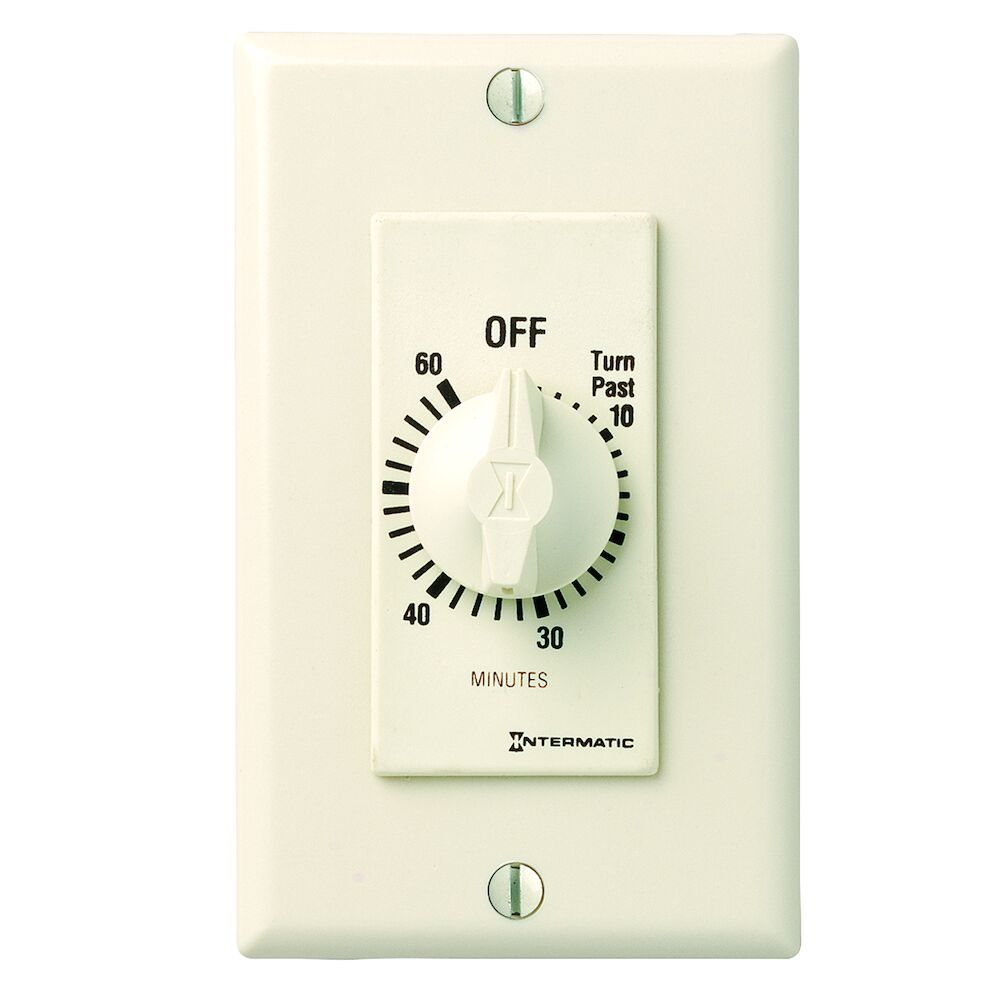 Spring Wound Countdown Timer, Decorator Style, 125-277 VAC, 50/60 Hz, SPST, 60 Minute Max, Without Hold, Light Almond redirect to product page