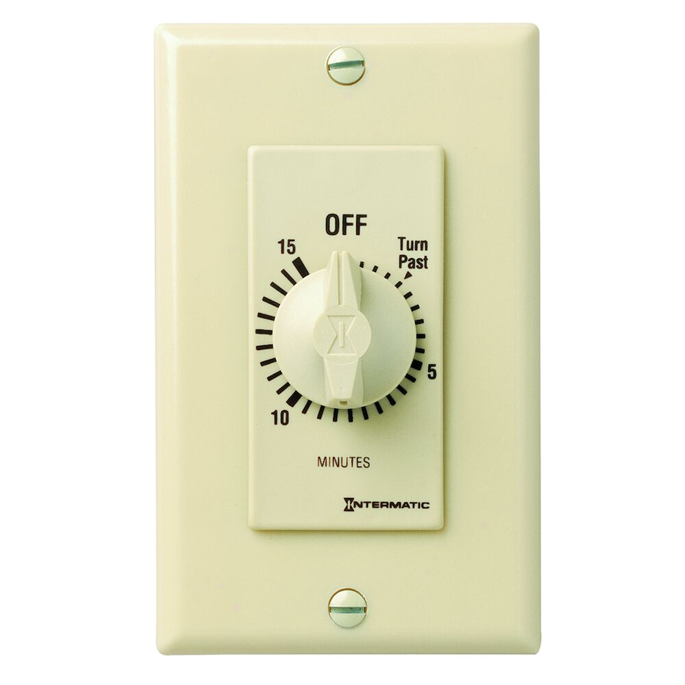 Spring Wound Countdown Timer, Decorator Style, 125-277 VAC, 50/60 Hz, DPST, 15 Minute Max, Without Hold, Ivory redirect to product page