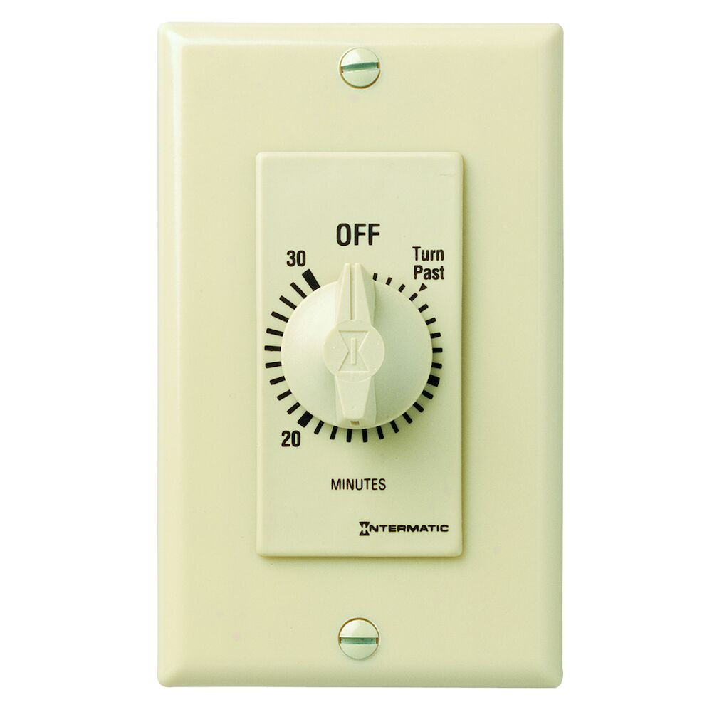 Spring Wound Countdown Timer, Decorator Style, 125-277 VAC, 50/60 Hz, DPST, 30 Minute Max, Without Hold, Ivory redirect to product page