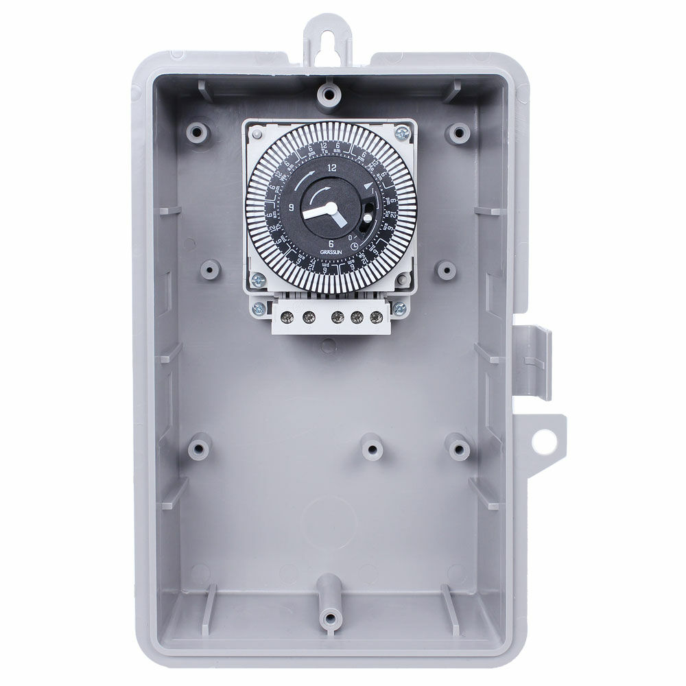 7-Day 120V Electromechanical Timer, 2 Hour Intervals, 21A, SPDT, Type 1 Indoor Plastic Enclosure redirect to product page