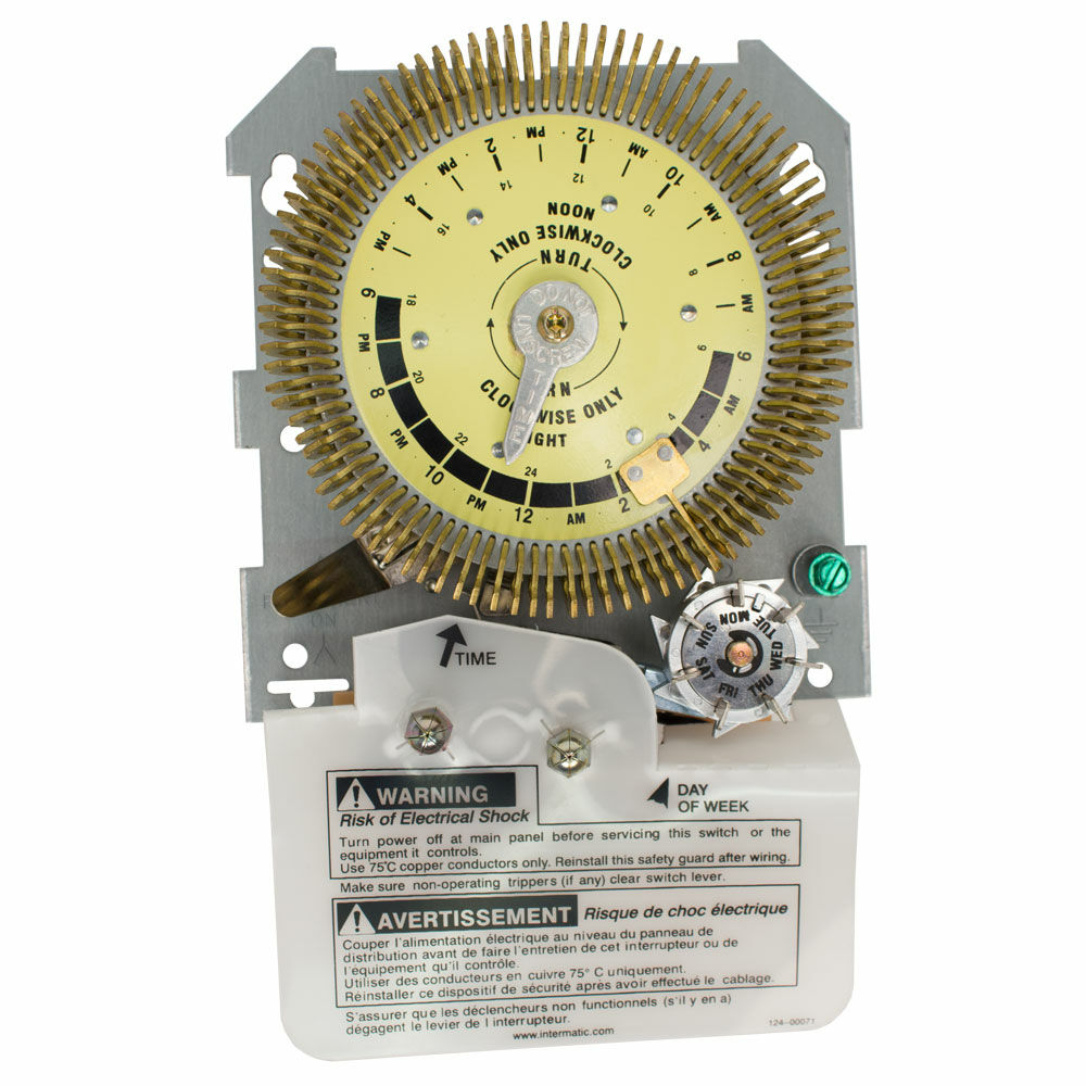 24-Hour Heavy-Duty Metal Dial Mechanical Time Switch with Skip-a-Day, Mechanism Only, 125 VAC, 60Hz, SPDT, 15 Minute Interval redirect to product page