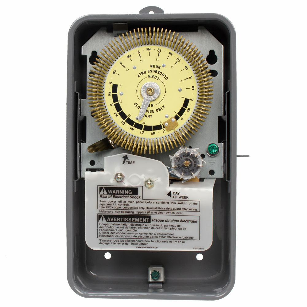 24-Hour Heavy-Duty Metal Dial Mechanical Time Switch with Skip-a-Day, 125 VAC, 60Hz, SPDT, Outdoor Metal Enclosure, 15 Minute Interval redirect to product page