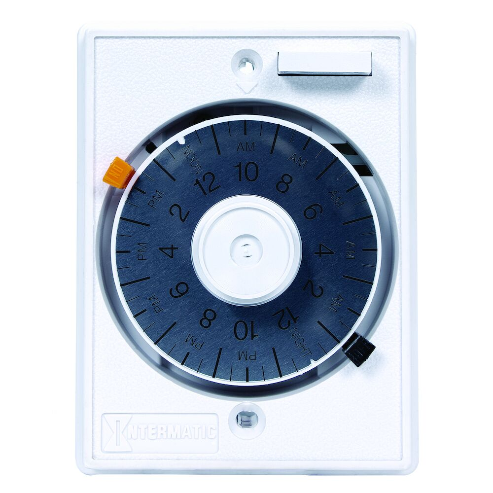 24-Hour Heavy-Duty Mechanical In-Wall Timer, 125VAC, 15 A, Permanent Trippers, White redirect to product page