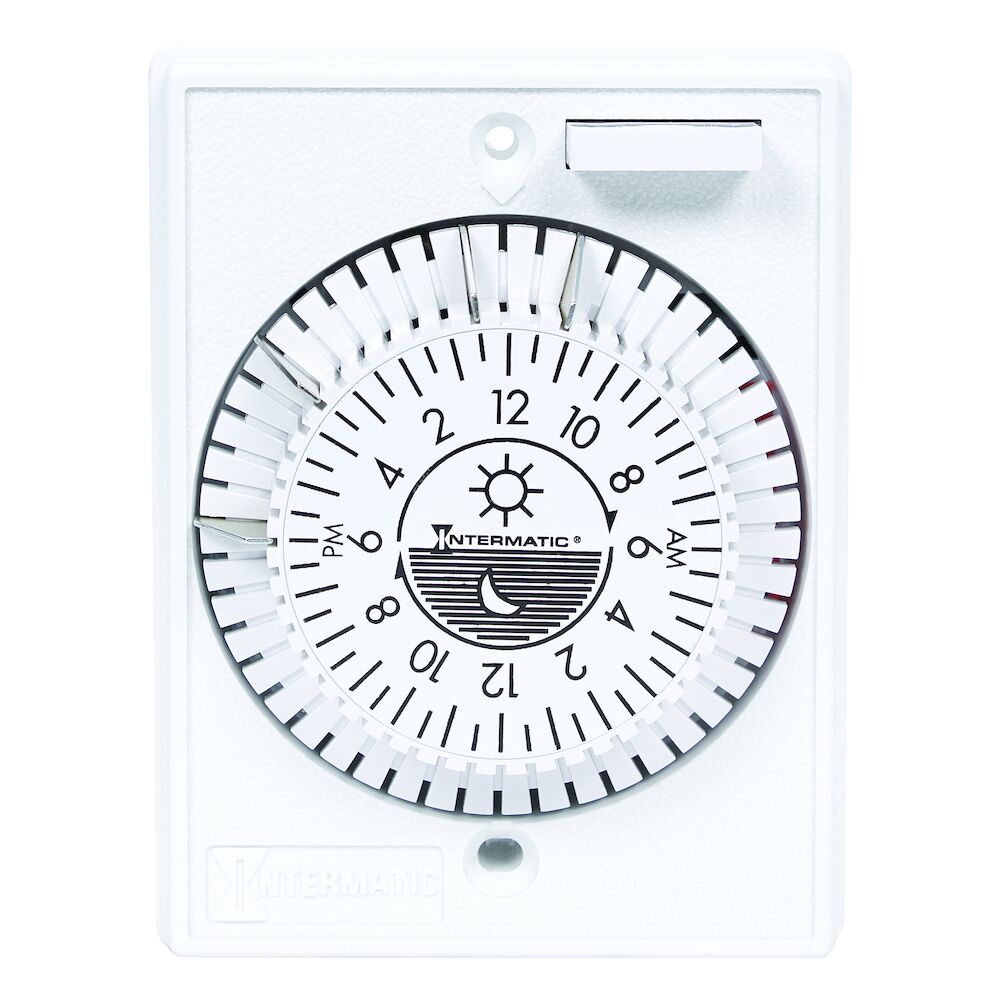24-Hour Heavy-Duty Mechanical In-Wall Timer, 125VAC, 15 A, Removable Trippers, White redirect to product page