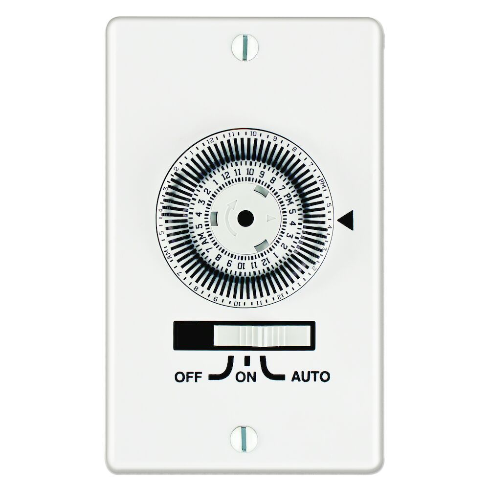 24-Hour Heavy-Duty Mechanical In-Wall Timer, Timer Only, 120 VAC, 20A, 1 Gang, SPST, White redirect to product page