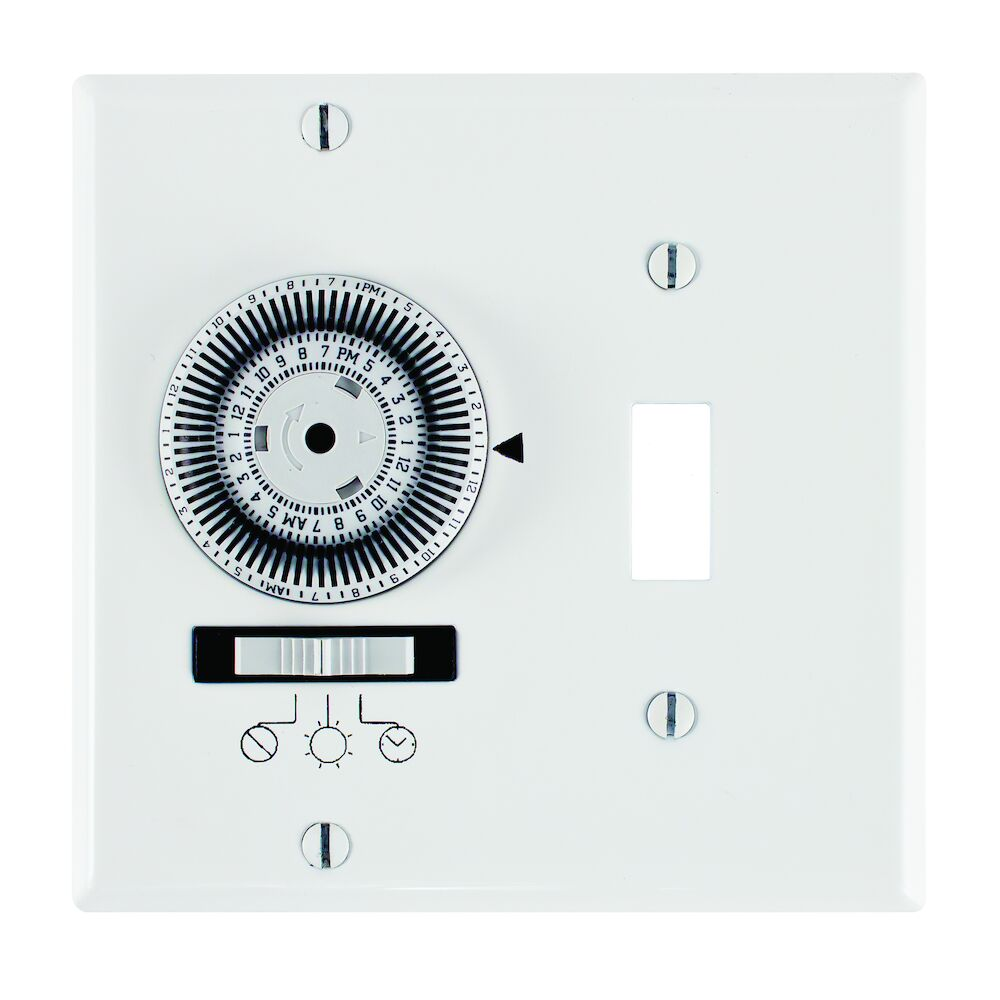 24-Hour Heavy-Duty Mechanical In-Wall Timer, Timer and Toggle Switch, 120 VAC, 20A, SPST, 2 Gang, White redirect to product page