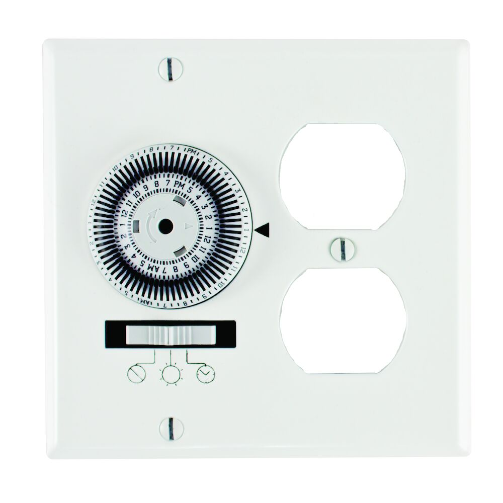 24-Hour Heavy-Duty Mechanical In-Wall Timer, Timer and Receptacle, 120 VAC, 20A, SPST, 2-Gang, White redirect to product page