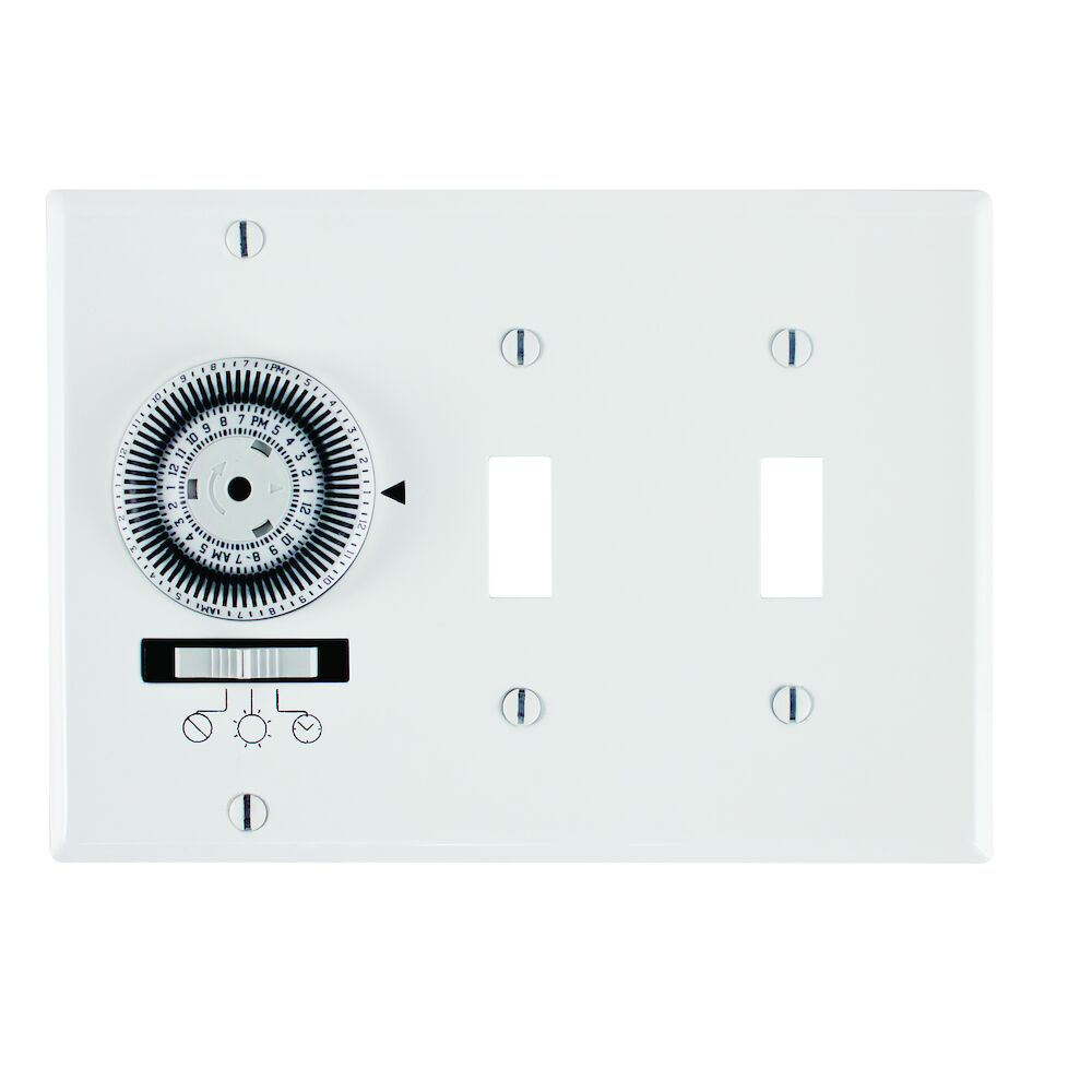 24-Hour Heavy-Duty Mechanical In-Wall Timer, Timer and Toggle Switch, 120 VAC, 20A, SPST, 3 Gang, White redirect to product page