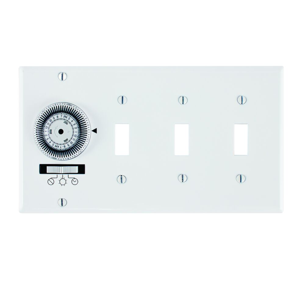 24-Hour Heavy-Duty Mechanical In-Wall Timer, Timer and Toggle Switch, 120 VAC, 20A, SPST, 4 Gang, White redirect to product page