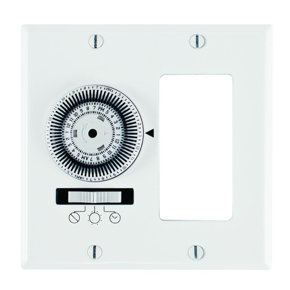 24-Hour Heavy-Duty Mechanical In-Wall Timer, Timer and Decorator Switch, 120 VAC, 20A, SPST, 2 Gang, White redirect to product page