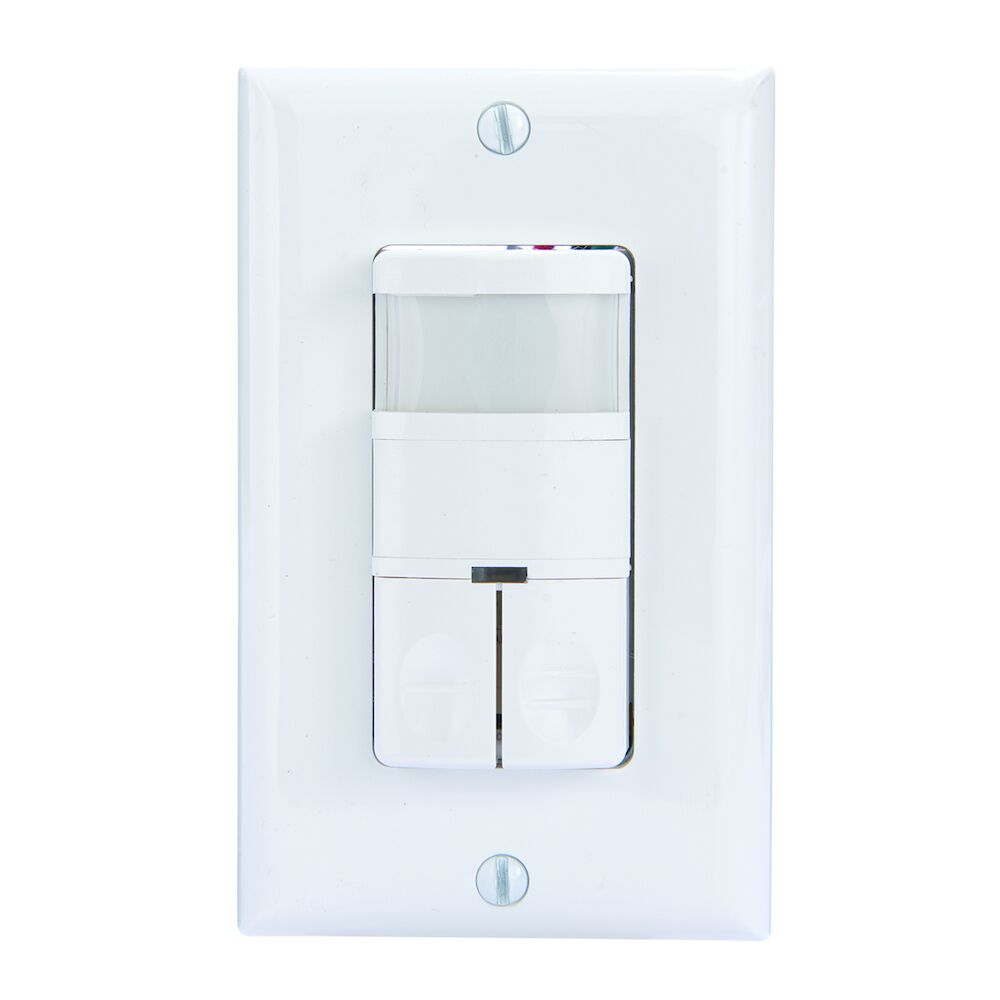 Commercial Grade Dual Load In-Wall PIR Occupancy/Vacancy Sensor, No Neutral Required, White redirect to product page