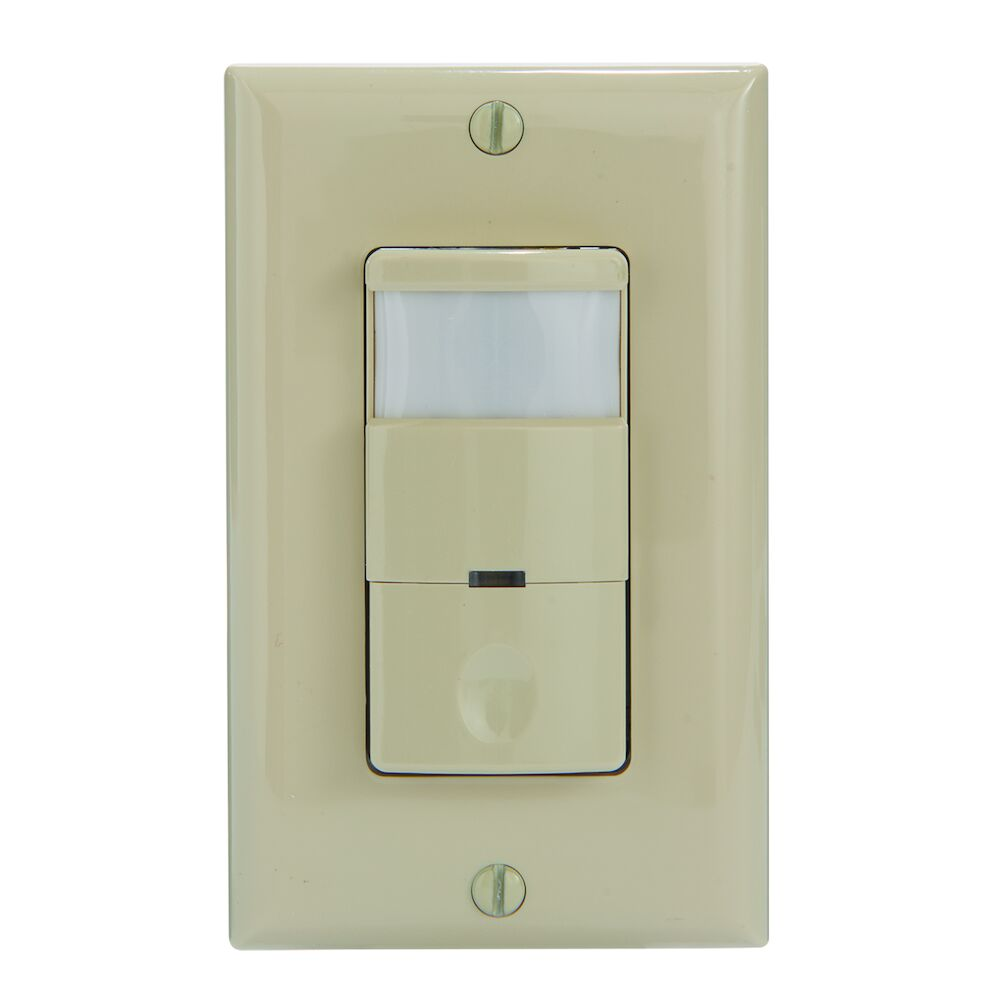 Commercial Grade Self-Adaptive In-Wall PIR Occupancy/Vacancy Sensor, No Neutral Required, Ivory redirect to product page