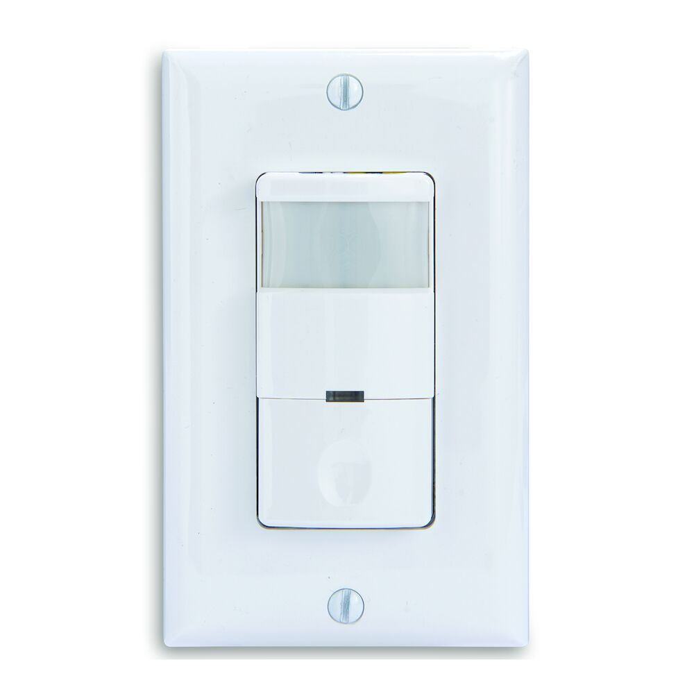 Commercial Grade Self-Adaptive In-Wall PIR Occupancy/Vacancy Sensor, No Neutral Required, White redirect to product page