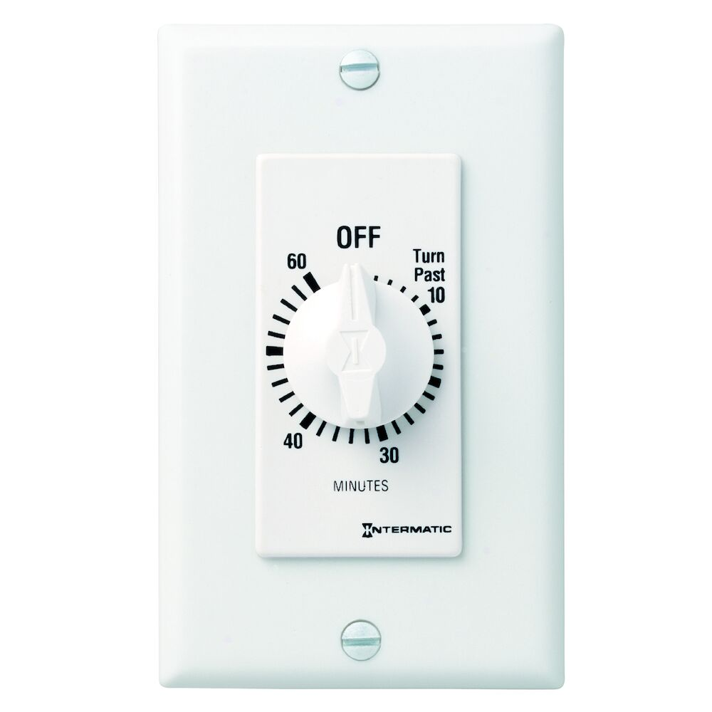 Spring Wound Countdown Timer, Decorator Style, 125-277 VAC, 50/60 Hz, DPST, 60 Minute Max, Without Hold, White redirect to product page