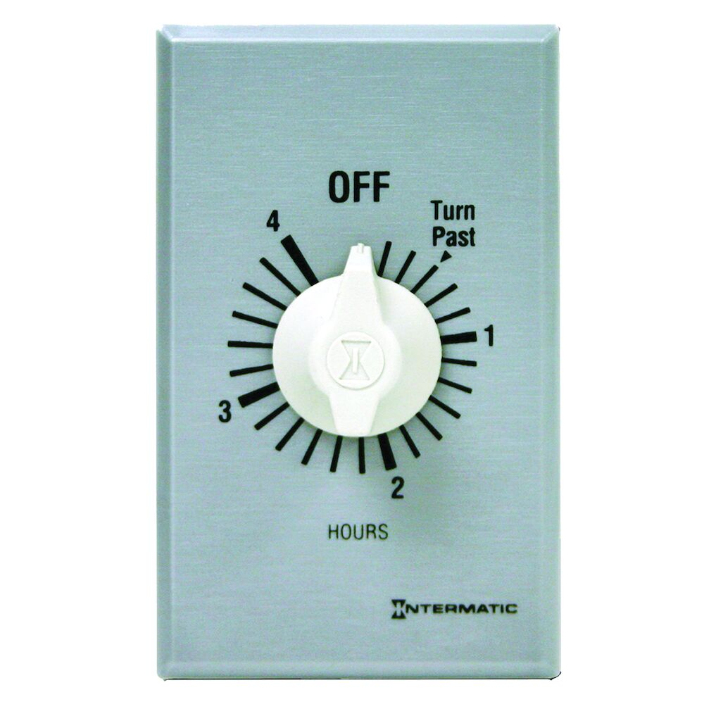Spring Wound Countdown Timer, Commercial, 125-277 VAC, 50/60 Hz, SPST, 4 Hour Max, Without Hold, Silver redirect to product page