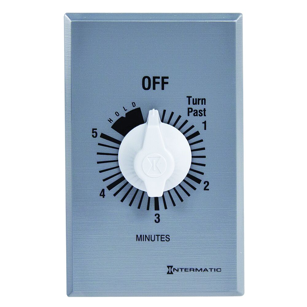 Spring Wound Countdown Timer, Commercial, 125-277 VAC, 50/60 Hz, SPST, 5 Minute Max, With Hold, Silver redirect to product page