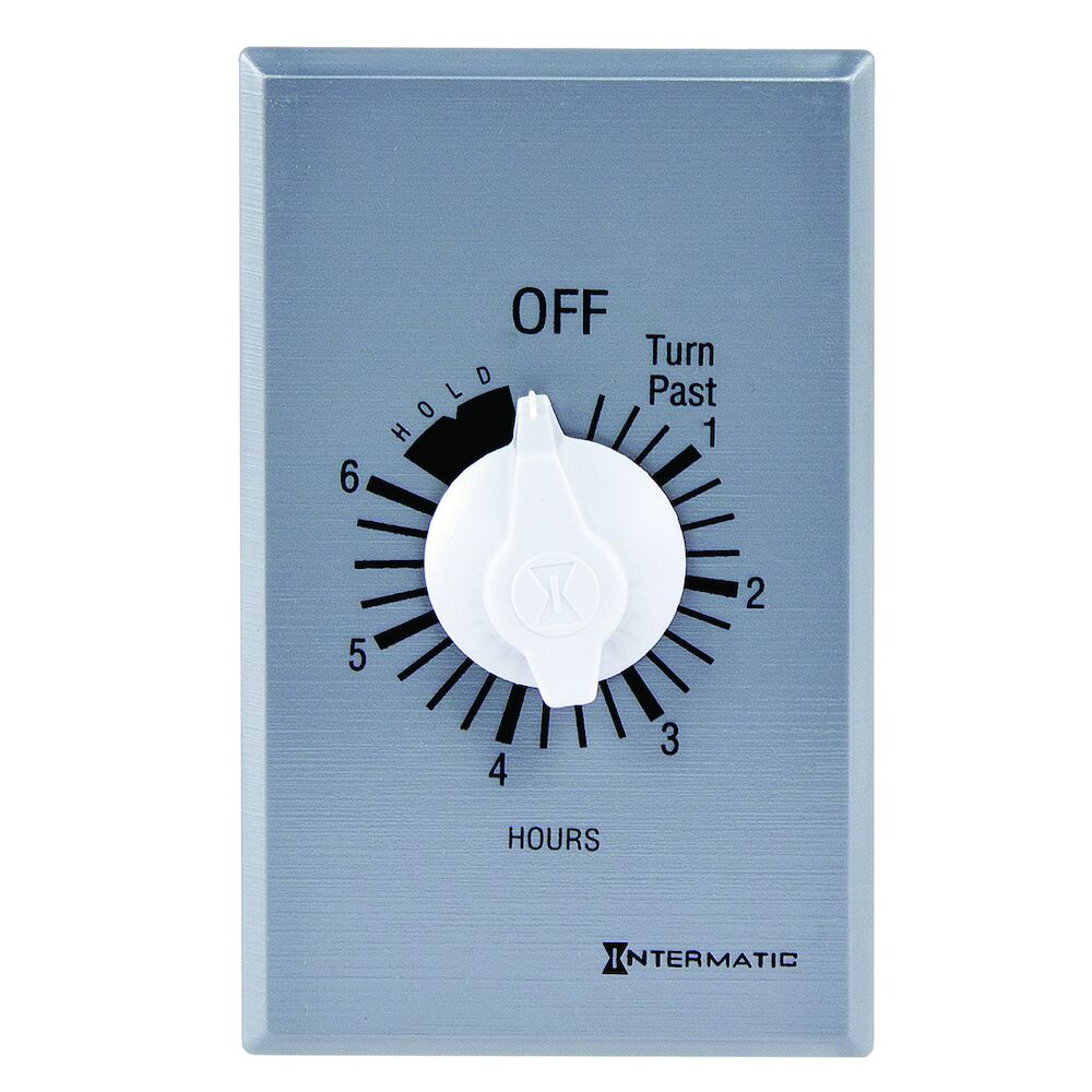 Spring Wound Countdown Timer, Commercial, 125-277 VAC, 50/60 Hz, SPST, 6 Hour Max, With Hold, Silver redirect to product page