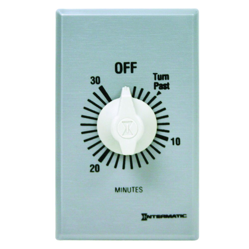 Spring Wound Countdown Timer, Commercial, 125-277 VAC, 50/60 Hz, SPST, 30 Minute Max, Without Hold, Silver redirect to product page