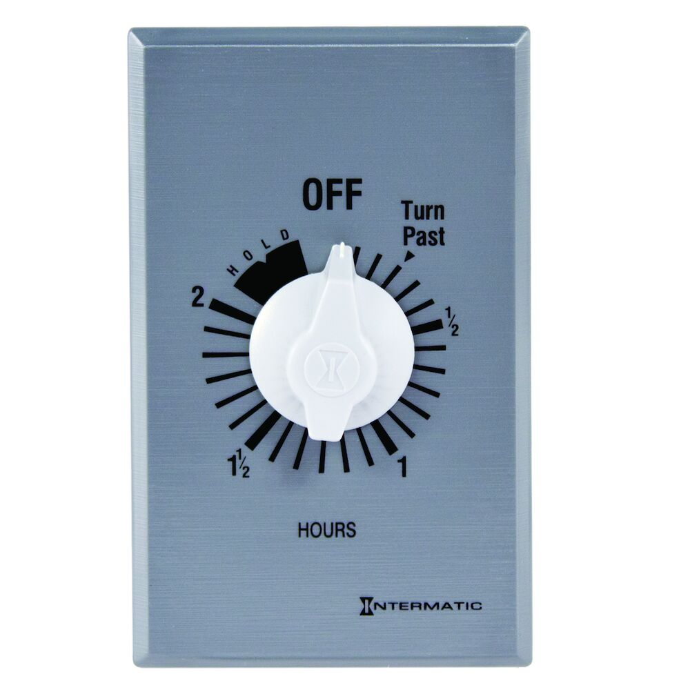 Spring Wound Countdown Timer, Commercial, 125-277 VAC, 50/60 Hz, SPDT, 2 Hour Max, With Hold, Silver redirect to product page