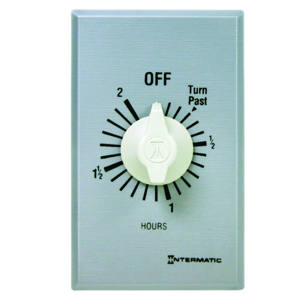 Spring Wound Countdown Timer, Commercial, 125-277 VAC, 50/60 Hz, SPDT, 2 Hour Max, Without Hold, Silver redirect to product page