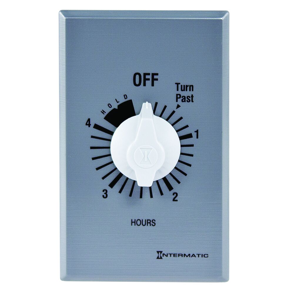 Spring Wound Countdown Timer, Commercial, 125-277 VAC, 50/60 Hz, SPDT, 4 Hour Max, With Hold, Silver redirect to product page