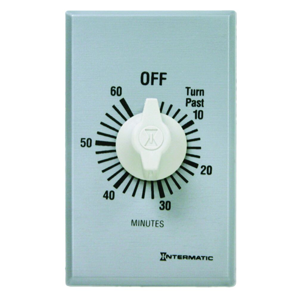 Spring Wound Countdown Timer, Commercial, 125-277 VAC, 50/60 Hz, SPST, 60 Minute Max, Without Hold, Silver redirect to product page