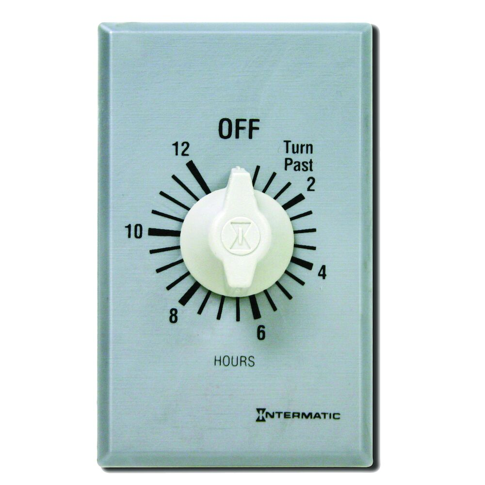 Spring Wound Countdown Timer, Commercial, 125-277 VAC, 50/60 Hz, SPDT, 12 Hour Max, Without Hold, Silver redirect to product page