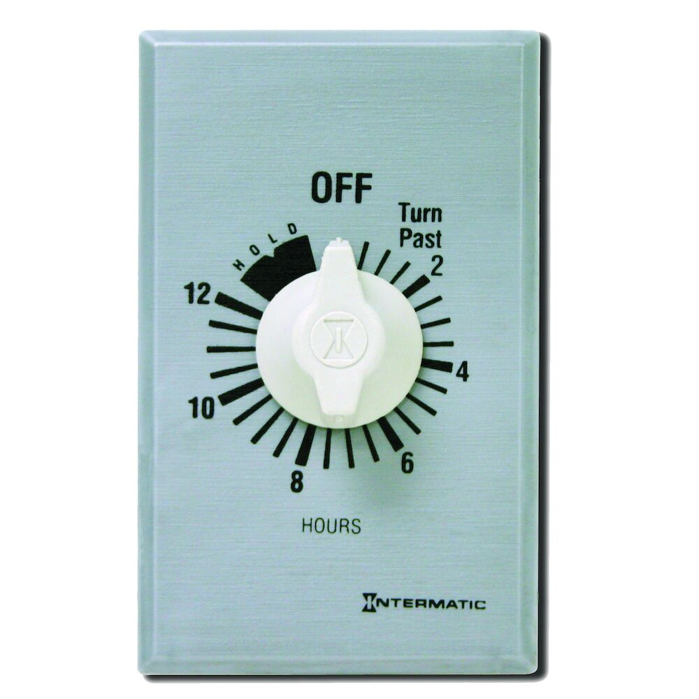 Spring Wound Countdown Timer, Commercial, 125-277 VAC, 50/60 Hz, SPDT, 12 Hour Max, With Hold, Silver redirect to product page