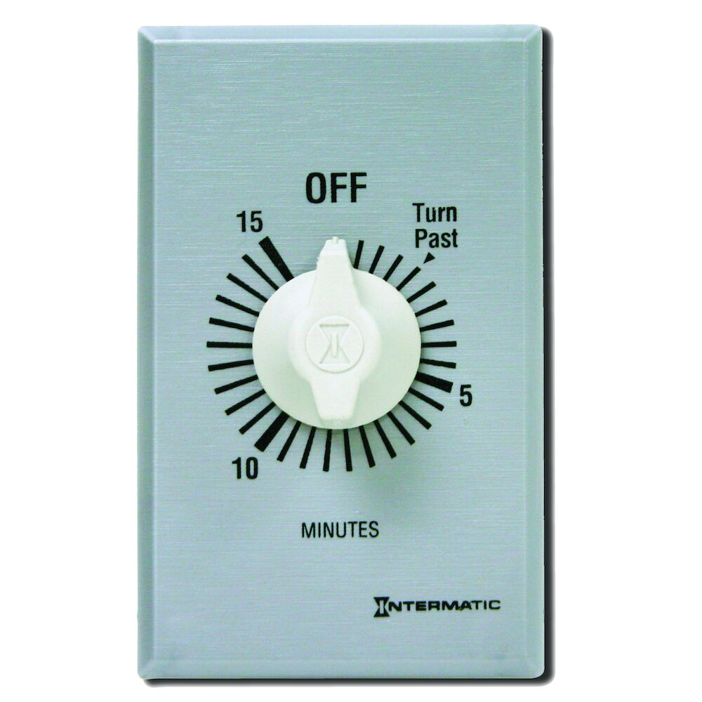 Spring Wound Countdown Timer, Commercial, 125-277 VAC, 50/60 Hz, SPDT, 15 Minute Max, Without Hold, Silver redirect to product page