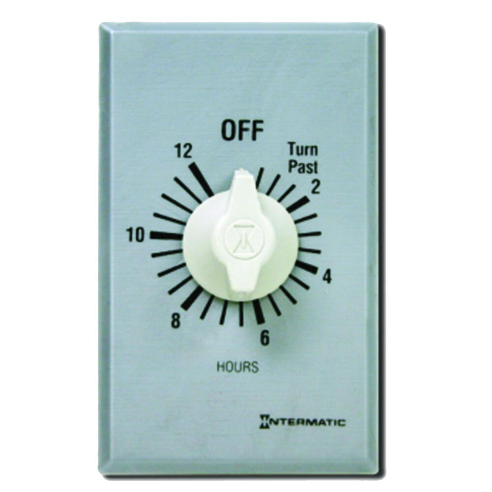 Spring Wound Countdown Timer, Commercial, 125-277 VAC, 50/60 Hz, DPST, 12 Hour Max, Without Hold, Silver redirect to product page