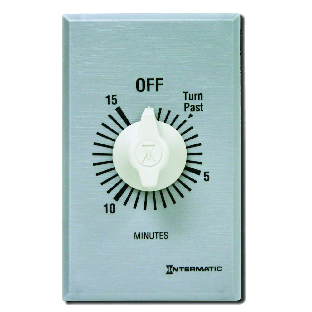 Spring Wound Countdown Timer, Commercial, 125-277 VAC, 50/60 Hz, DPST, 15 Minute Max, Without Hold, Silver redirect to product page