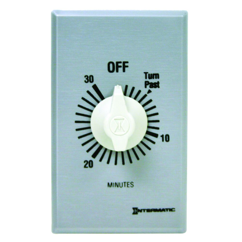 Spring Wound Countdown Timer, Commercial, 125-277 VAC, 50/60 Hz, DPST, 30 Minute Max, Without Hold, Silver redirect to product page