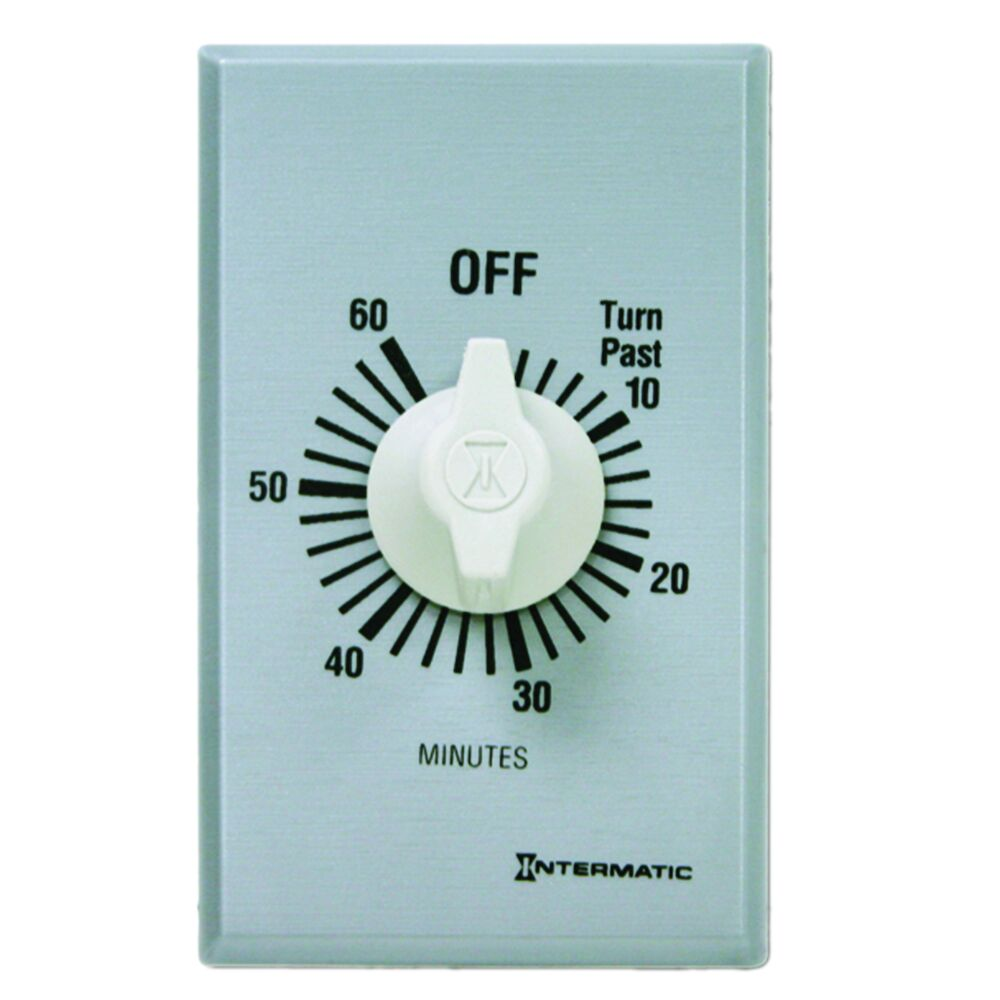 Spring Wound Countdown Timer, Commercial, 125-277 VAC, 50/60 Hz, DPST, 60 Minute Max, Without Hold, Silver redirect to product page