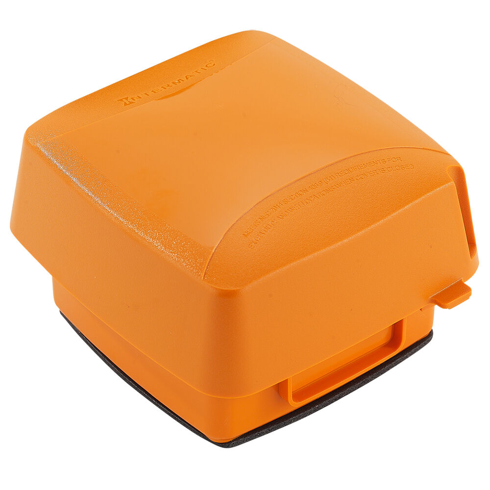 """Extra-Duty Plastic In-Use Weatherproof Cover, Double-Gang, Vrt, 3.625"""" Orange redirect to product page"""