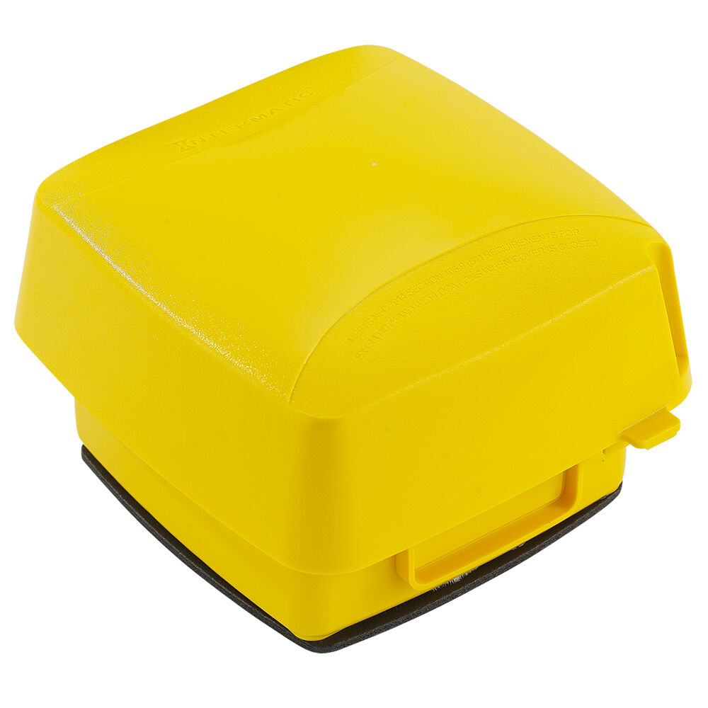 """Extra-Duty Plastic In-Use Weatherproof Cover, Double-Gang, Vrt, 3.625"""" Yellow redirect to product page"""